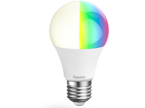 Bombilla inteligente - Hama E27, WiFi, Luz regulable, 10W, Alexa, Google Assistant, LED, Multicolor, A+