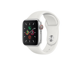 Apple Watch Series 5, Chip W3, 40 mm, GPS + Cellular, Caja aluminio plata, Correa deportiva blanca