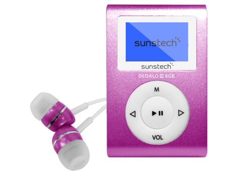 Reproductor MP3 - Sunstech Dedalo III, 8GB, 4h Autonomía, Radio FM, Rosa