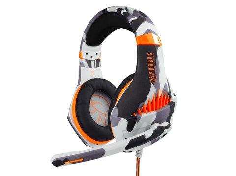 Auriculares gaming, FR-TEC  Phobos Winter Warrior, Multiplataforma, Micrófono, LED, Gris y Naranja