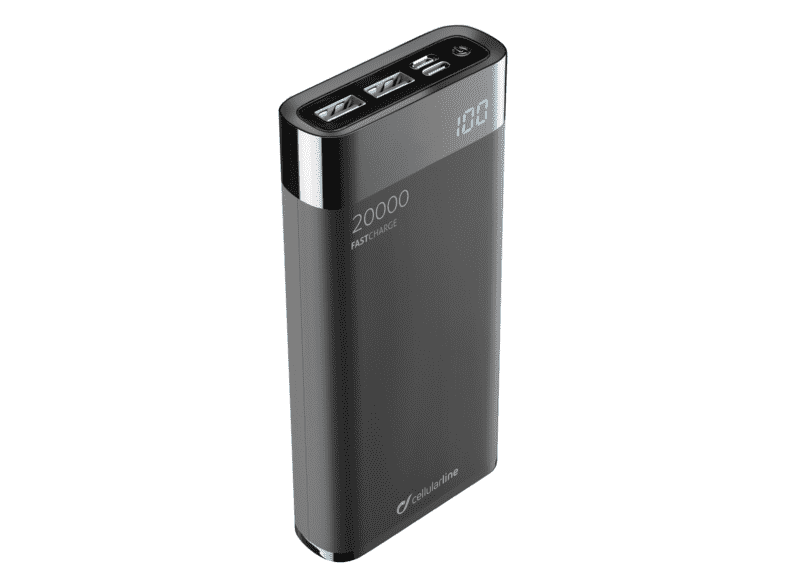 Powerbank - Cellular Line FREEPMANTA, Para smartphone o tablet, USB, USB-C, MicroUSB, Negro