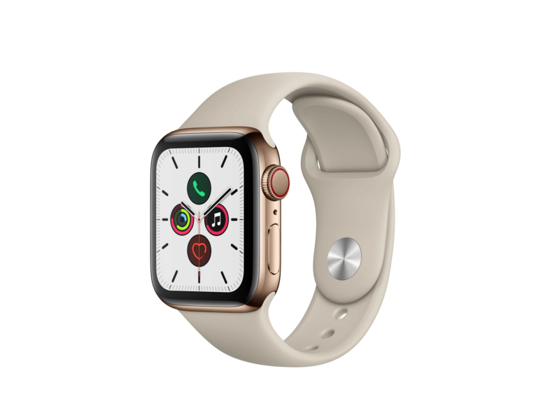 Apple Watch Series 5, Chip W3, 40 mm, GPS + Cellular, Caja acero inoxidable oro, Correa deportiva piedra