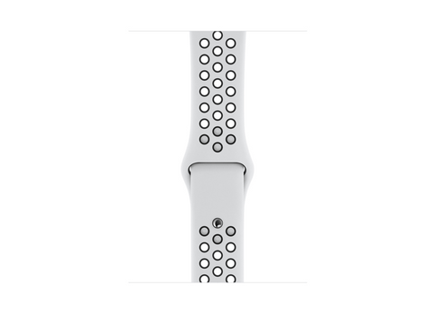 Correa - Apple Watch Nike, Regular, Fluoroelastómero, 44 mm, Negro y plata