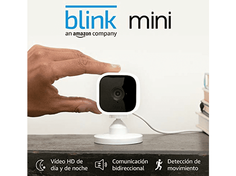 Cámara de vigilancia IP - Amazon Blink Mini, Full HD, 1080p, Detección de movimiento, Alexa, Blanco