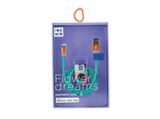 Cable USB a lightning - Io&Mio Flower Dreams, 1 m, Azul