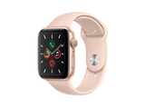 Apple Watch Series 5, Chip W3, 44 mm, GPS, Caja aluminio oro, Correa deportiva rosa arena