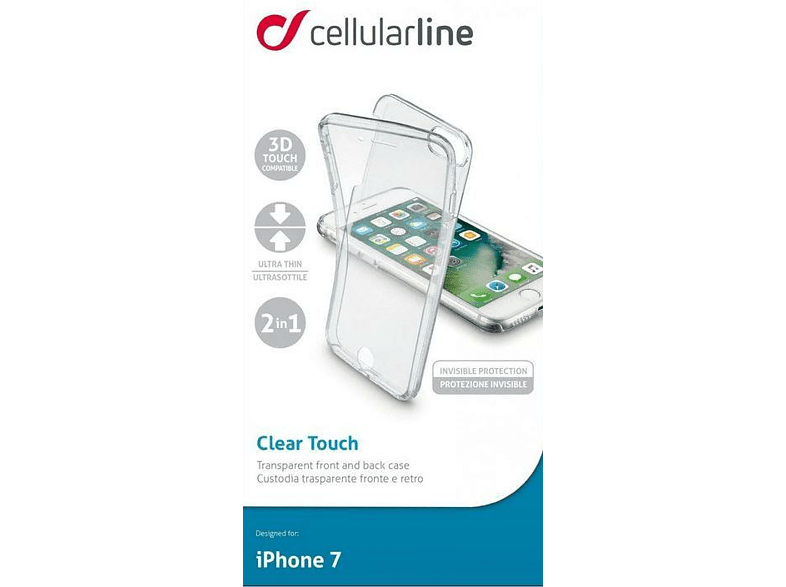 Funda - Cellularline Clear Touch, iPhone 7, Transparente