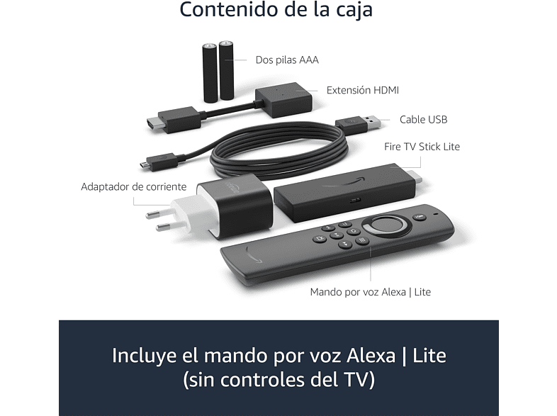 Reproductor multimedia - Fire TV Stick Lite 2020, 8GB, Bluetooth, Negro