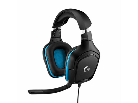 Auriculares gaming - Logitech G432, DTS Headphone:X 2.0, Transductores 50 mm, Negro y azul