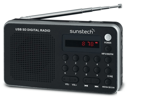 Radio portátil - Sunstech RPDS32 SL, AM/FM, USB, Plata