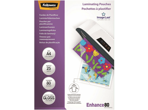 Pack fundas plastificarr - Fellowes, 25 fundas, Para A4 y de grosor 80 micras