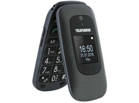 Móvil - Telefunken TM250 IZY, Doble pantalla, Bluetooth, Negro