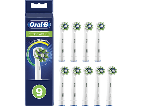 Recambio para cepillo dental - Oral-B, CrossAction con Tecnología CleanMaximiser, Pack De 9, blanco