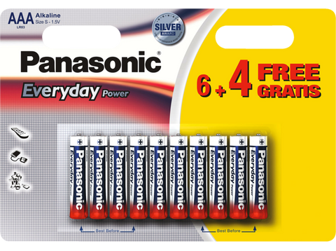 Pilas AAA - Panasonic Everyday Power LR03, batería alcalina, 6 + 4 unidades