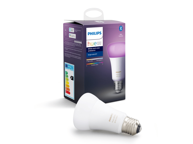 Bombilla Bluetooth - Philips Hue LED E27, Luz blanca y color, Domótica