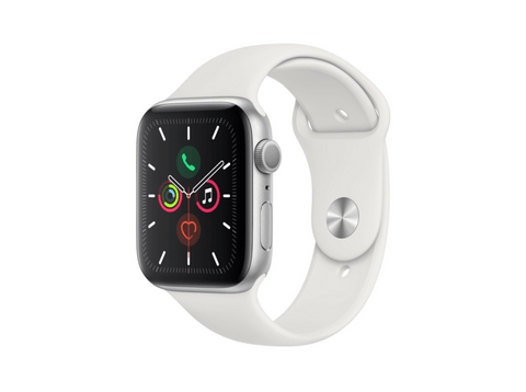 Apple Watch Series 5, Chip W3, 44 mm, GPS, Caja aluminio plata, Correa deportiva blanca