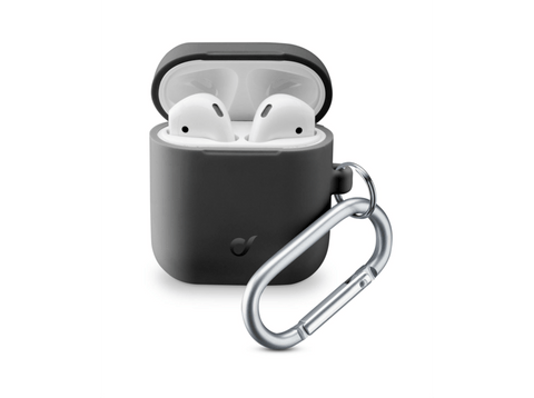 Funda Airpods - Cellular Line BOUNCEAIRPODSK, Silicona, Negro