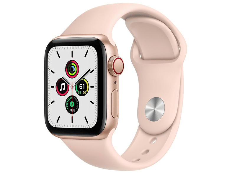 Apple Watch SE, GPS+CELL, 40 mm, Caja de aluminio en oro, Correa deportiva rosa arena