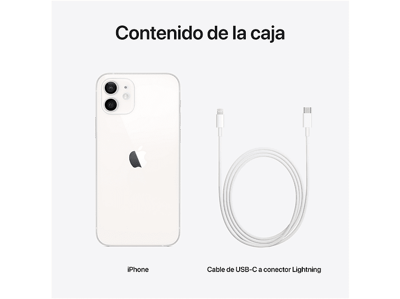 Apple iPhone 12, Blanco, 128 GB, 5G, 6.1 OLED Super Retina XDR, Chip A14 Bionic, iOS