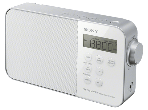 Radio portátil - Sony ICM780SL, AM/FM, Pantalla LED, Blanco