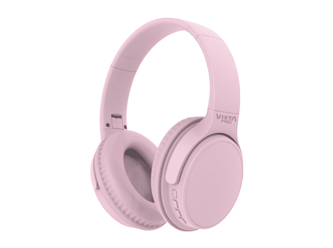 Auriculares inalámbricos - Vieta Pro Way VHP-BT190MB, Bluetooth, Radio FM, Micro SD, 40h, Plegable, Rosa