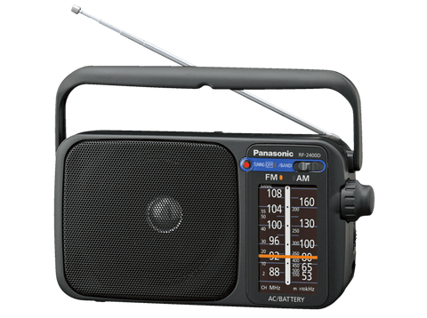 Radio portátil - Panasonic RF-2400D, FM/AM, Digital, Jack 3.5 mm, Negro
