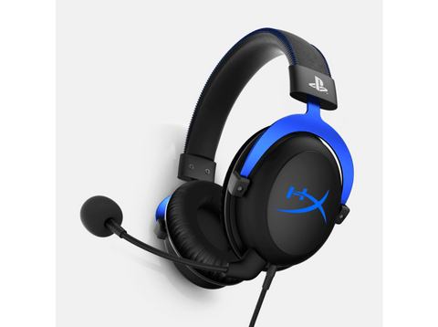 Auriculares gaming - HYPERX CLOUD BLUE PS4, Micrófono extraíble, Para PS4, Negro y azul