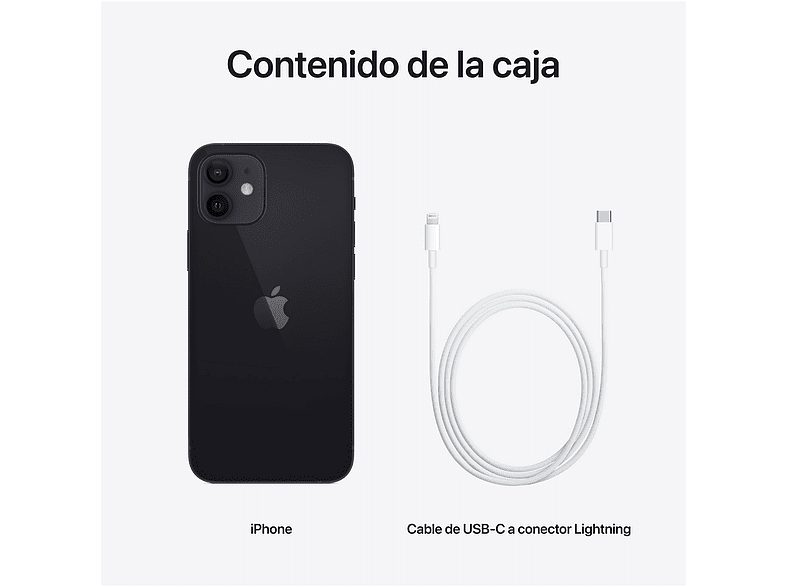 Apple iPhone 12, Negro, 64 GB, 5G, 6.1 OLED Super Retina XDR, Chip A14 Bionic, iOS