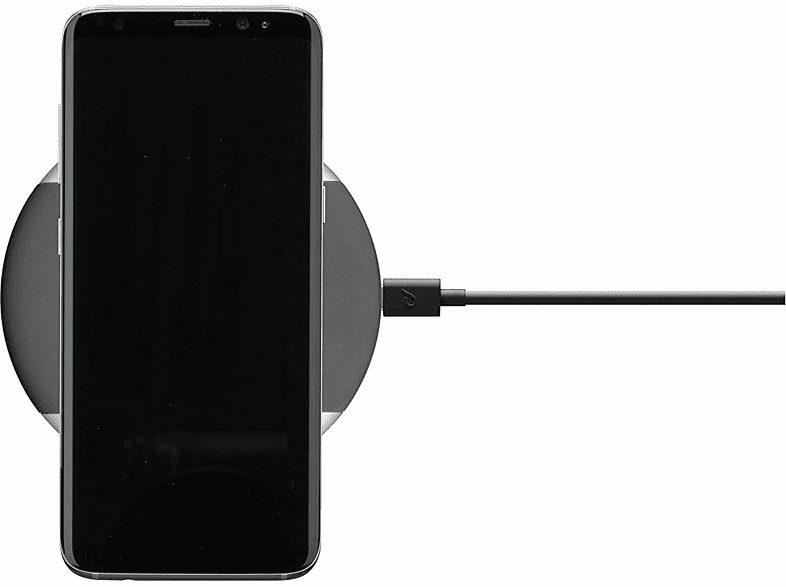 Cargador - Cellularline WIRELESSPAD10WTYCK, 10 W, Carga inalámbrica, Cable USB Type-A a USB Type-C, Negro