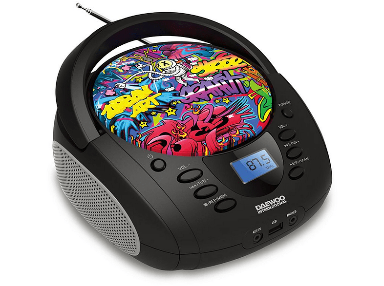 Radio CD - Daewoo DBU-10, Antena FM, Reproductor MP3, CD, USB, 4W RMS, Graffiti, Multicolor