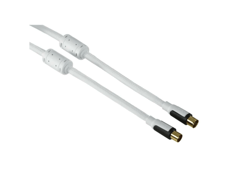 Cable Coaxial - Hama, 1.5m, 2xCoax, Blanco