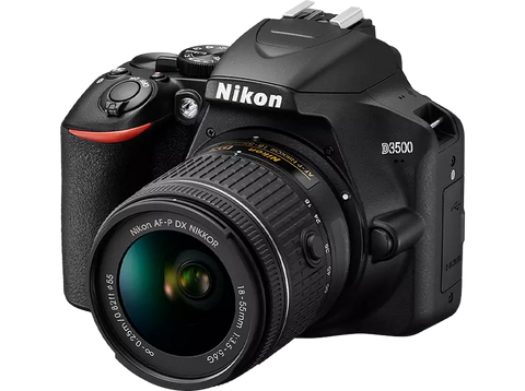 Cámara réflex - Nikon D3500, Sensor CMOS, 24.2 MP, Full HD, Bluetooth + 18-55 mm f/3.5-5.6G