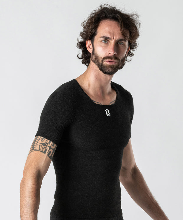 Stay Warm - Maglia termica Manica Corta Collo a V Anthracite