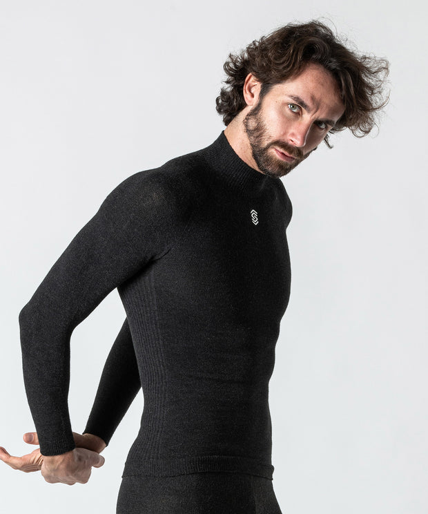 Stay Warm - Maglia termica Manica Lunga Collo Alto Anthracite