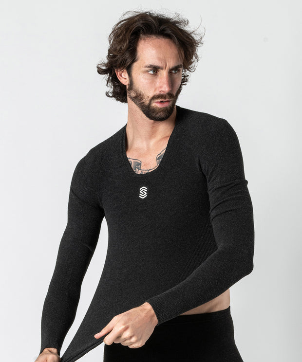Stay Warm - Maglia termica Manica Lunga Collo a V Anthracite