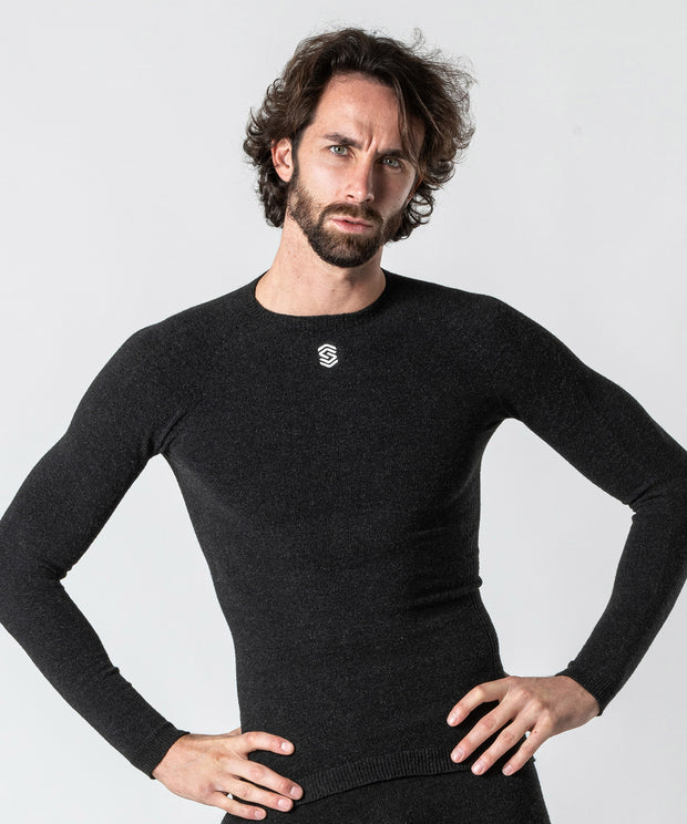 Long Sleeve Round-Neck Base Layer - Anthracite