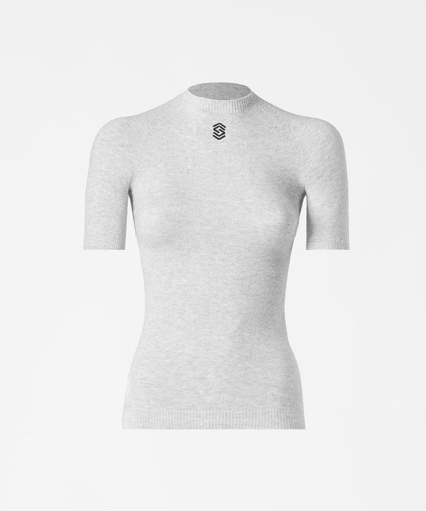 Short Sleeve Round Neck Base Layer - PearlGrey