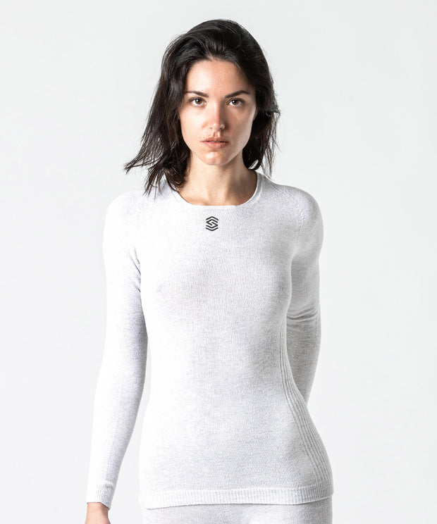 Long Sleeve V-Neck Base Layer – PearlGrey
