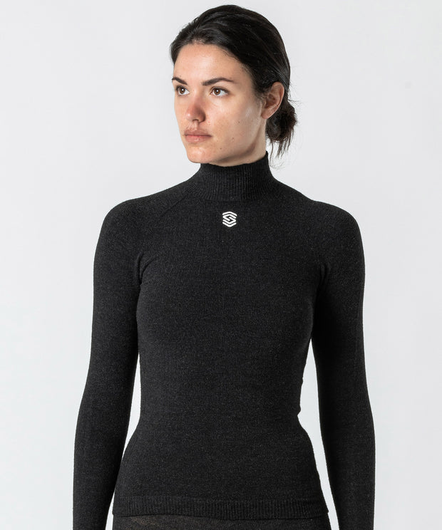 Long Sleeve High Neck Base Layer - Anthracite