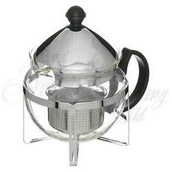 CHROME & GLASS 2-3 CUP INFUSING TEAPOT