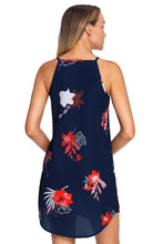 Load image into Gallery viewer, Navy Red And White Floral Dress