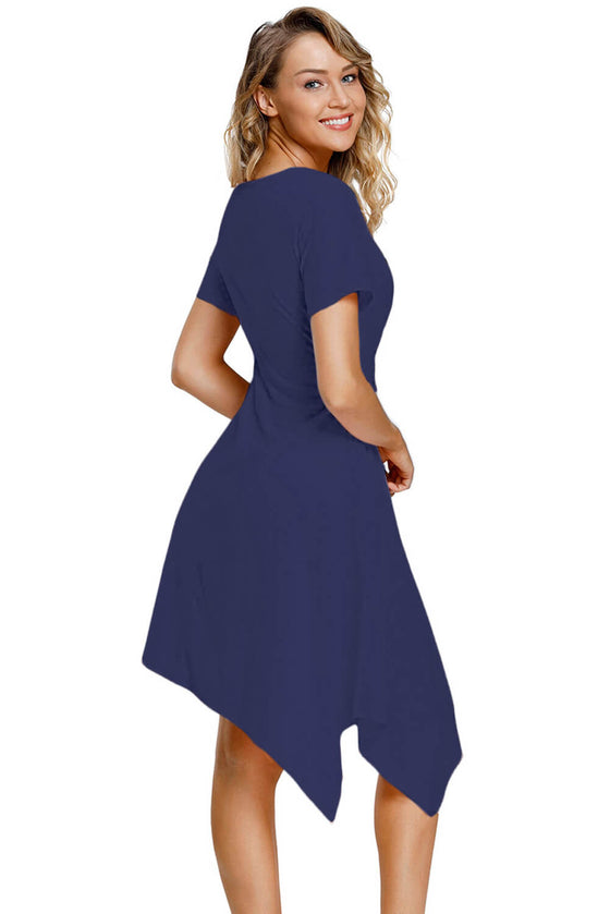 Navy Front Twist Jersey Dress