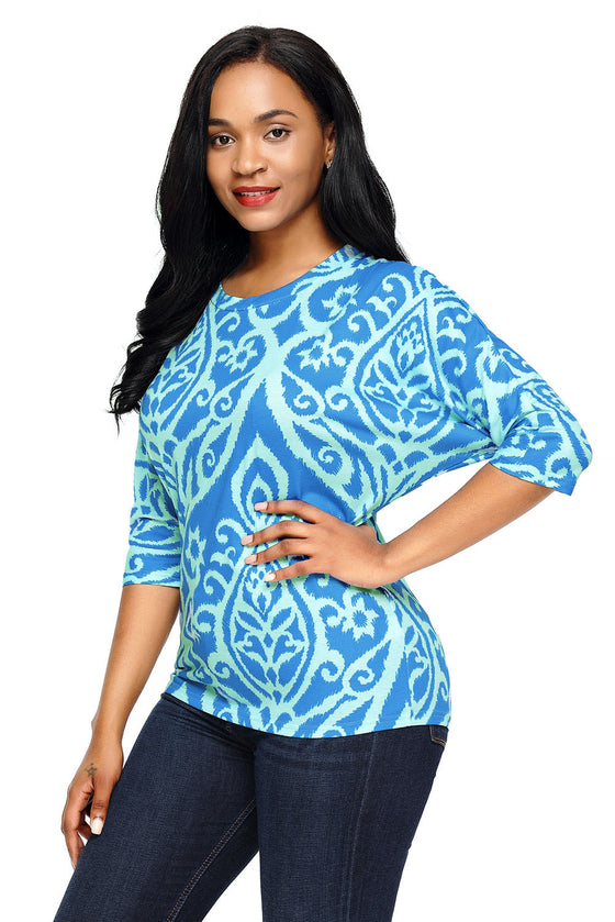 Royal Blue Aqua Damask Blouse