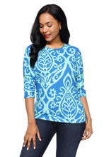 Load image into Gallery viewer, Royal Blue Aqua Damask Blouse