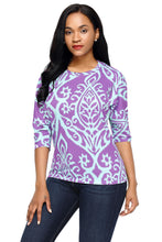 Load image into Gallery viewer, Purple Aqua Damask Print, Half Sleeve Top