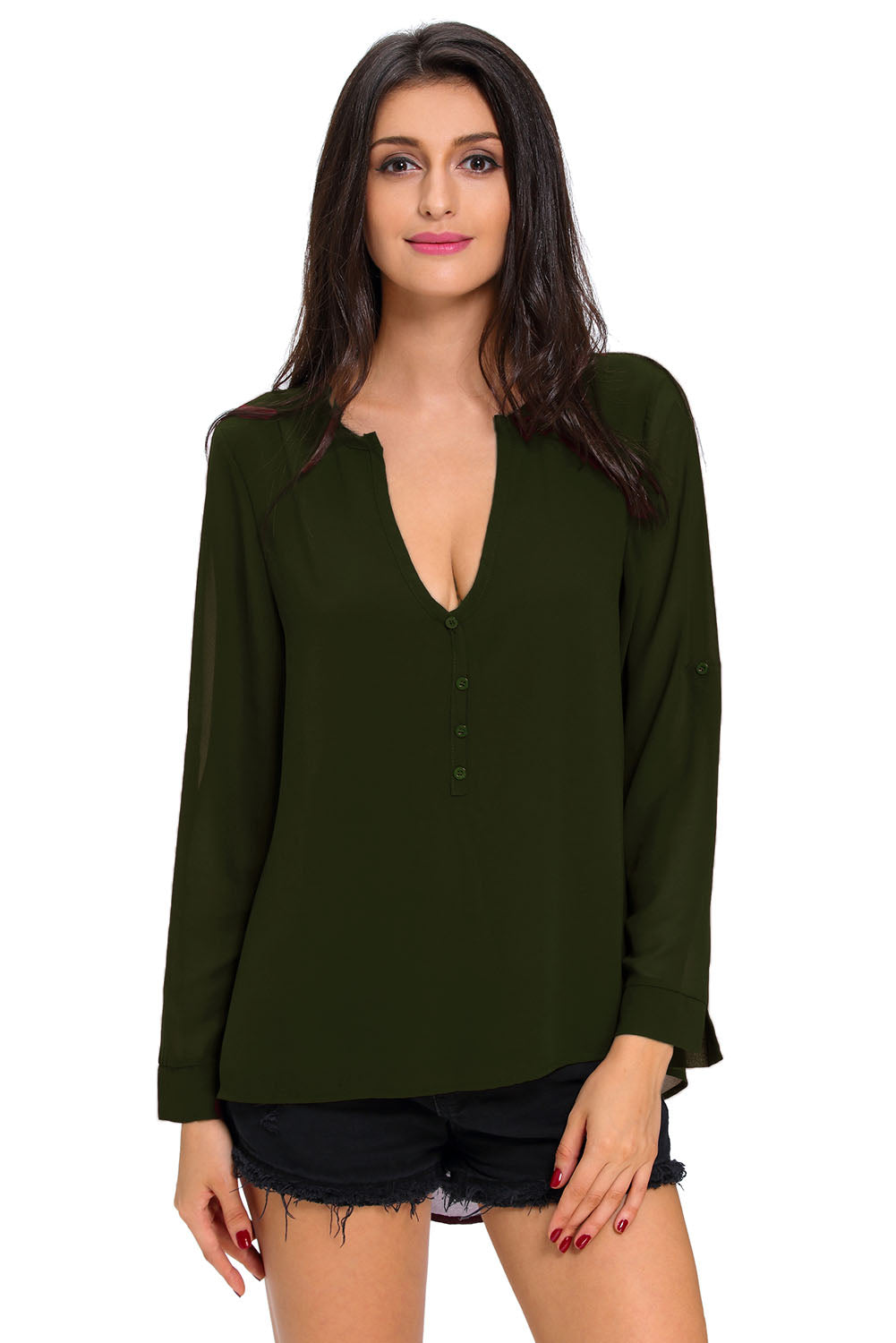 Olive Green Sheer Blouse