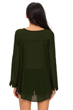 Load image into Gallery viewer, Olive Green Sheer Blouse