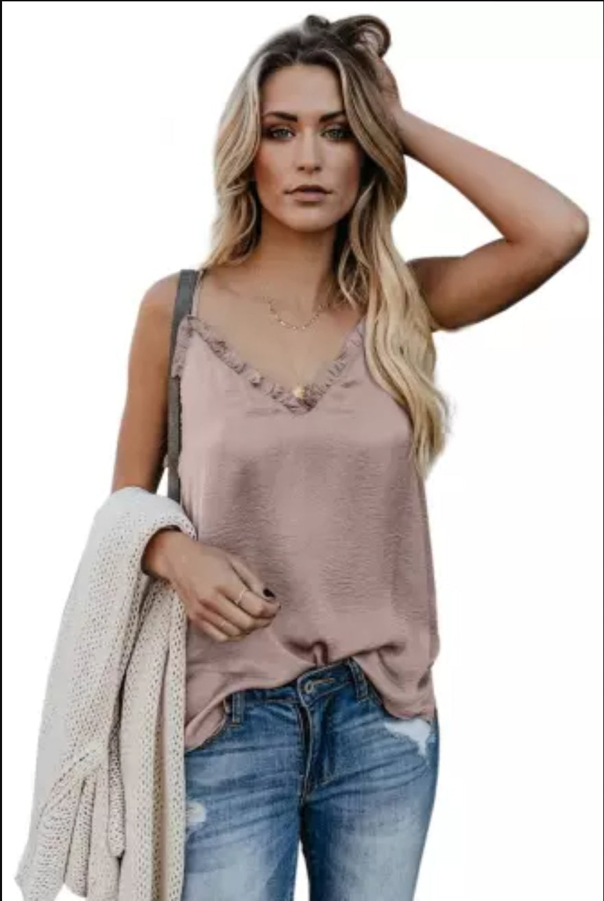 Nude Silk Cami with Lace Collar