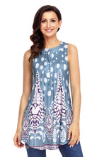 Load image into Gallery viewer, Sleeveless light blue polkadot shirt with purple floral pattern