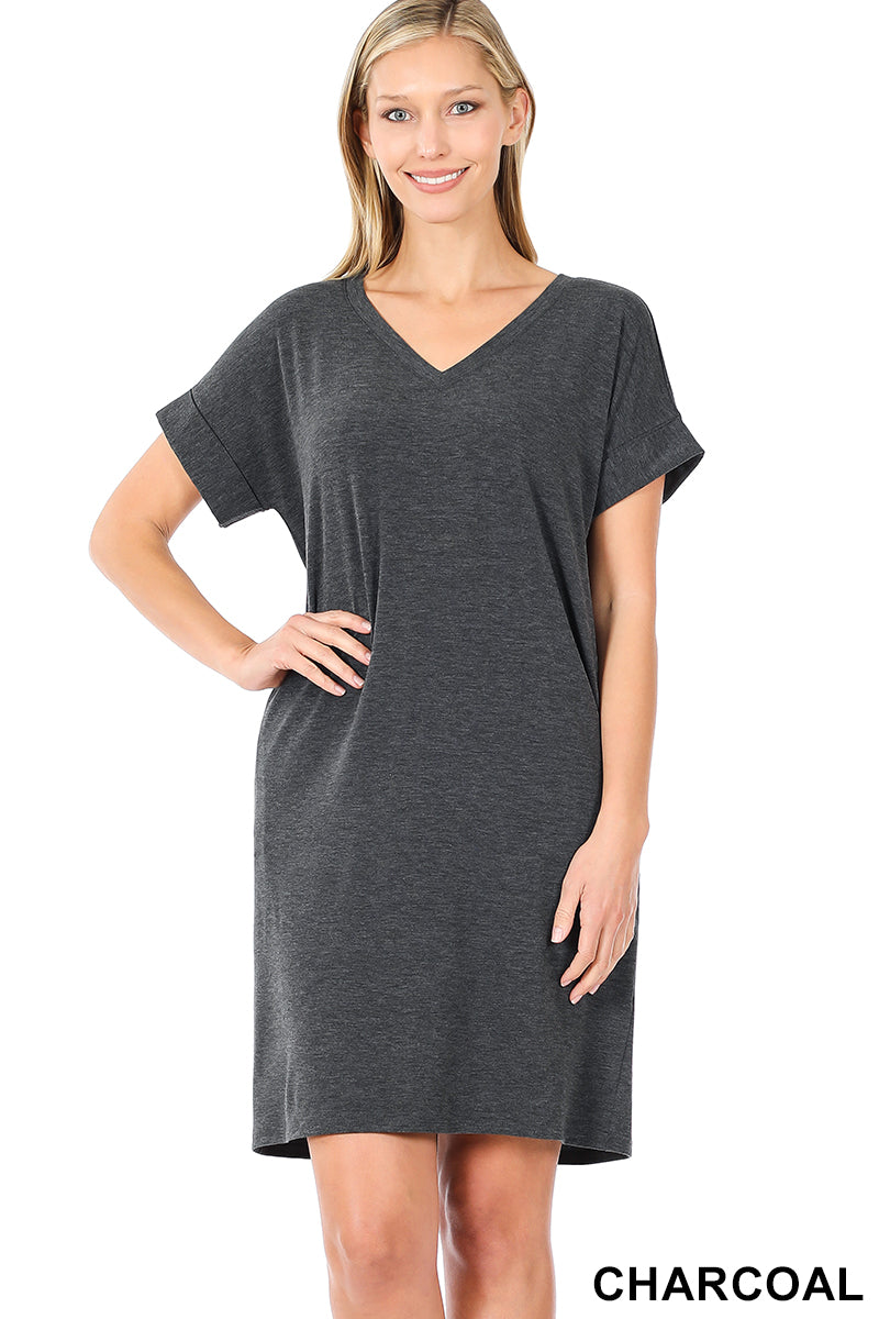 Rolled Sleeve Dress with Pockets Charcoal